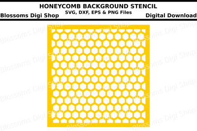 Honeycomb background stencil SVG, DXF, EPS and PNG files