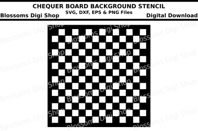 Chequer board background stencil SVG, DXF, EPS and PNG files