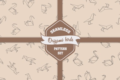 Seamless patterns with japanese origami birds
