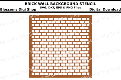 Brick wall background stencil SVG, DXF, EPS and PNG files