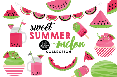Sweet Summer Melon Graphics & Patterns Bundle