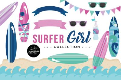 Surfer Girl Graphics & Patterns Bundle