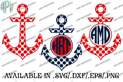 Polka Dot Monogram Anchors - SVG, DXF, EPS Cut Files