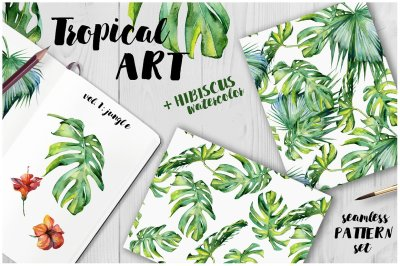 Watercolor set of tropical patterns