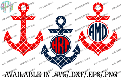 Quatrefoil Monogram Anchors - SVG, DXF, EPS Cut Files
