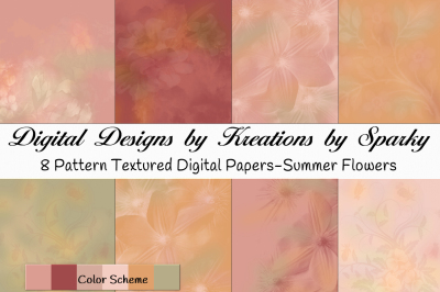 16x16 Digital Background Papers Summer Flowers