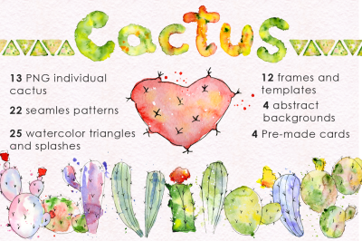 Boho Watercolor abstract Cactus Tropical clipart