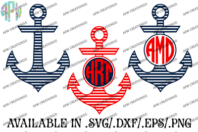 Striped Monogram Anchors - SVG, DXF, EPS Cut Files