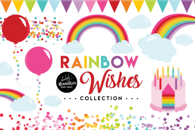 Rainbow Wishes Graphics & Patterns Bundle