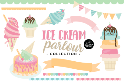 Ice Cream Parlour Graphics & Patterns Bundle
