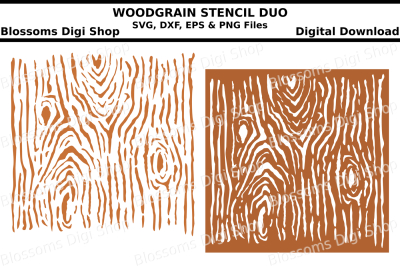 Woodgrain stencil duo SVG, DXF, EPS and PNG files