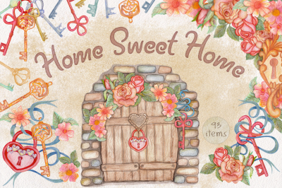 Home Sweet Home. Watercolor wonderland Keys, floral collection