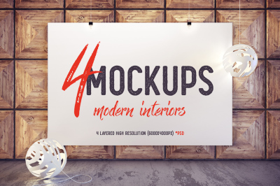 4 Mockups, modern interiors