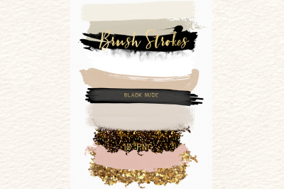 Black nude. Glamour black and neutral  colors palette. Gold glitter.  Brush Strokes Clip Art
