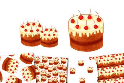Bright chocolate cake with cherries