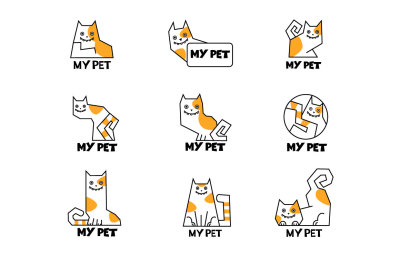 Vector cartoon cat icons