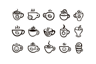 Vector coffee cup icons + patterns