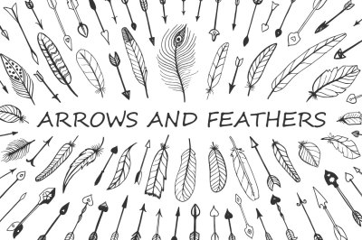 Vector doodle arrows and feathers