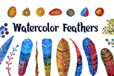 Watercolor feathers with ornament