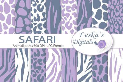 Grey and Lavender Safari Digital Paper