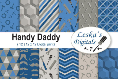 Father's Day Digital Paper - Blue