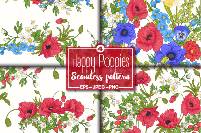 4 Seamless Happy Poppies Pattern