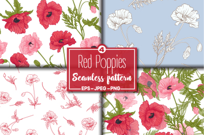 4 Red Poppies Seamless Patterns