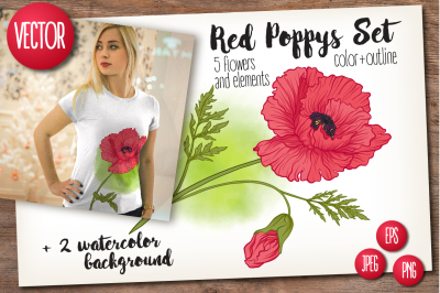 5 Red Poppies Set