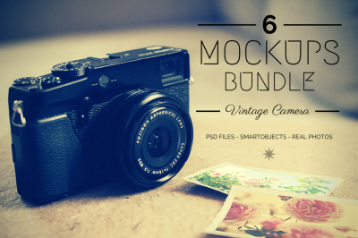 Mockups Bundle: 6 Vintage Camera Photos