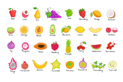 Vector fruits, patterns and frames