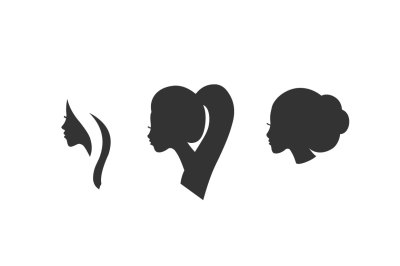 Vector woman profile silhouette