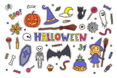 Vector Halloween stickers + patterns