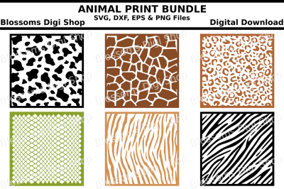 Animal print bundle SVG, DXF, EPS and PNG files