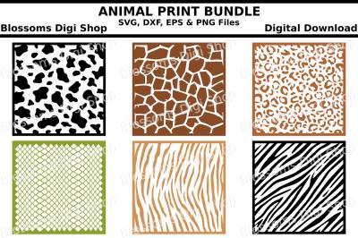 Animal print bundle SVG, DXF, EPS and PNG files