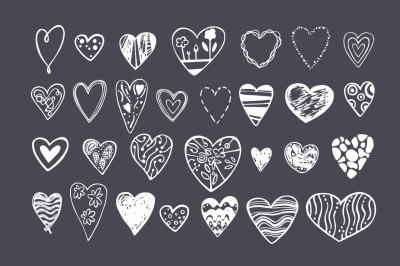 Vector hearts + patterns