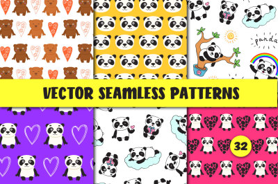 32 Seamless Patterns with Panda