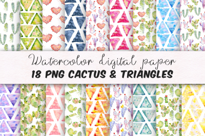 Digital paper Seamless pattern Cactus and triangles clipart watercolor