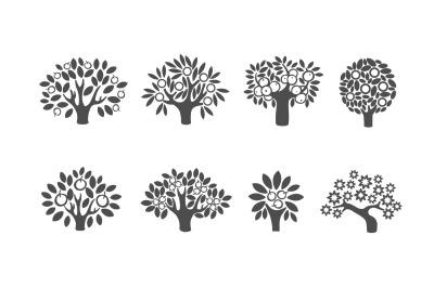 Apple Tree illustration icon set