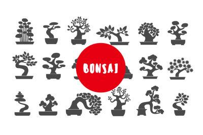 Bonsai illustration icon set
