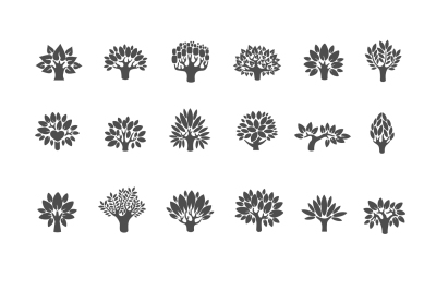 Tree illustration icon set