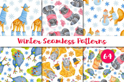 Watercolor Patterns. Winter animals