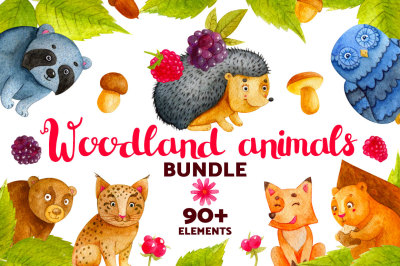 Woodland Animals. Watercolor Bundle