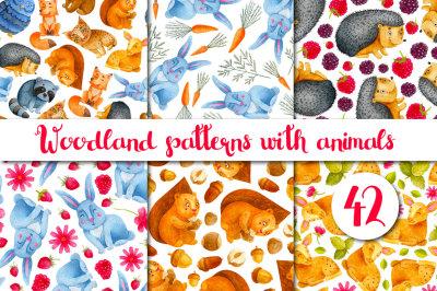 Woodland Animals. Watercolor Pattern