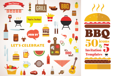 BBQ Icon set and invitation template