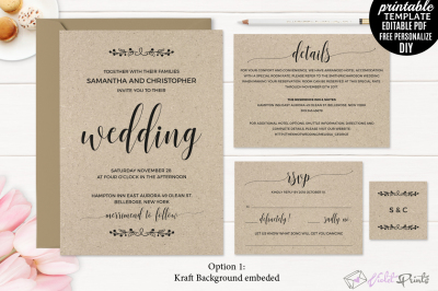 Kraft Paper Rustic Wedding Invitation Set Template