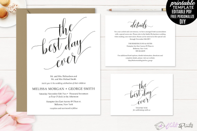 Classic Wedding Invitation Set Template The Best Day Ever