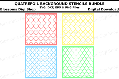 Quatrefoil background stencils bundle SVG, DXF, EPS and PNG files