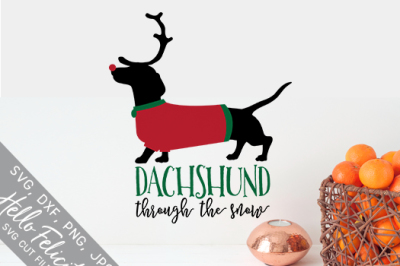 Dachshund Rudolph Snow Christmas SVG Cutting Files