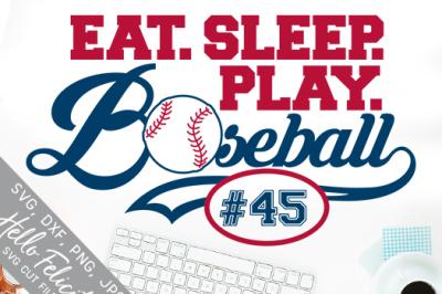 Baseball Eat Sleep Play Monogram SVG Cutting Files