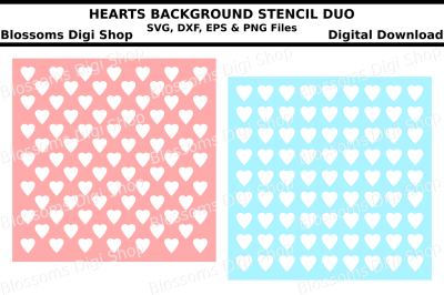 Hearts background stencil duo SVG, DXF, EPS and PNG files